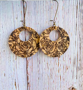 Black Rose Vegan Cork Reversible Ayla Earrings - Black Cat Modern Boho Handmade Jewelry