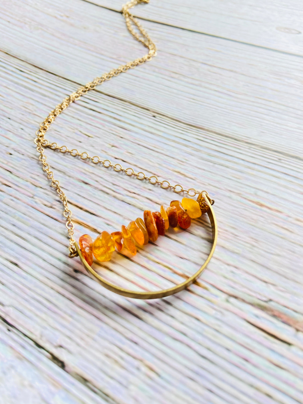 Amber Arc Necklace - Black Cat Modern Boho Handmade Jewelry