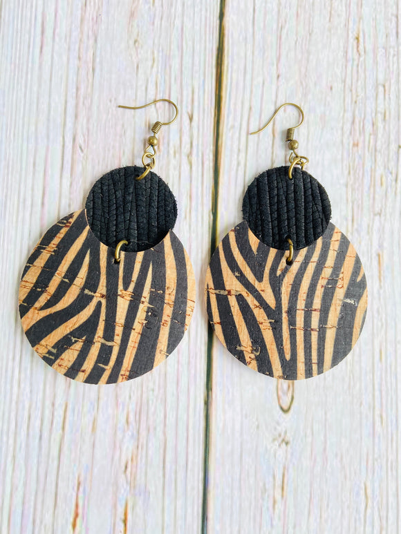 Zebra Cork Lily Earrings - Black Cat Crafts