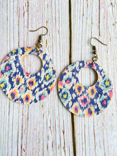 Ikat Print Cork Ayla Earrings - Black Cat Modern Boho Handmade Jewelry