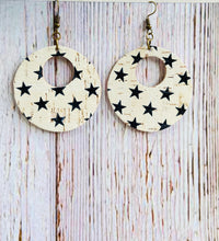 Black & White Star Print Cork Ayla Earrings - Black Cat Modern Boho Handmade Jewelry