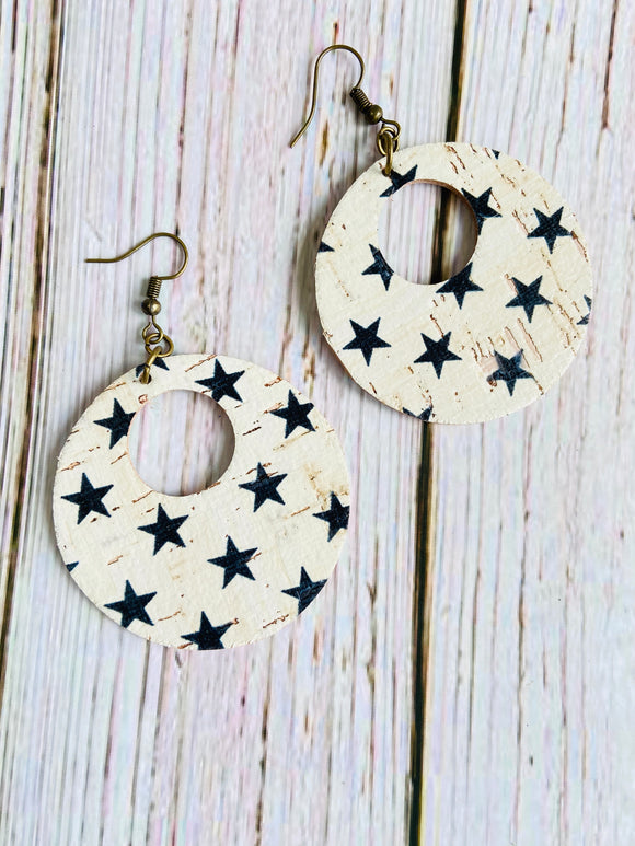 Black & White Star Print Cork Ayla Earrings - Black Cat Crafts