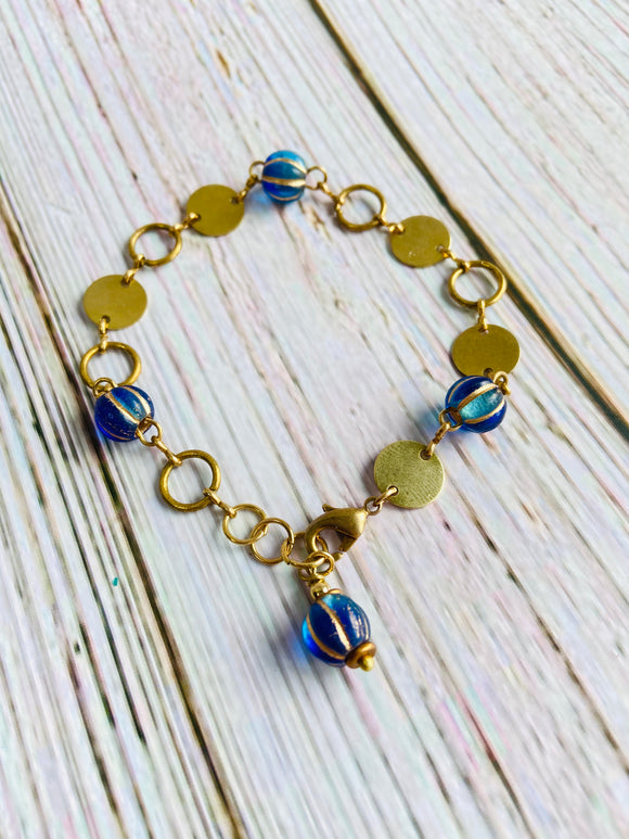 Sapphire & Gold Orb Bracelet - Black Cat Crafts Handmade Jewelry