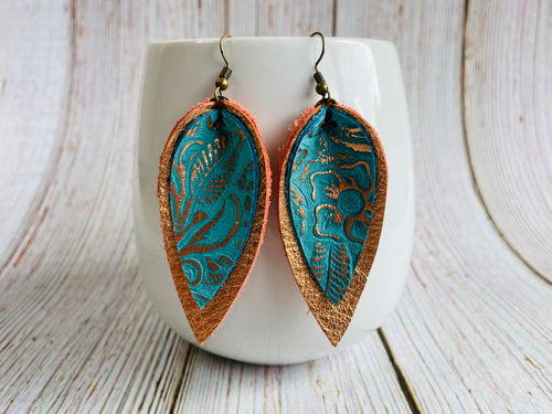 Rose Gold and Turquoise Metallic Yara Earrings - Black Cat Modern Boho Handmade Jewelry