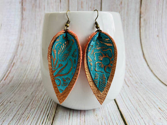 Rose Gold and Turquoise Metallic Yara Earrings - Black Cat Crafts