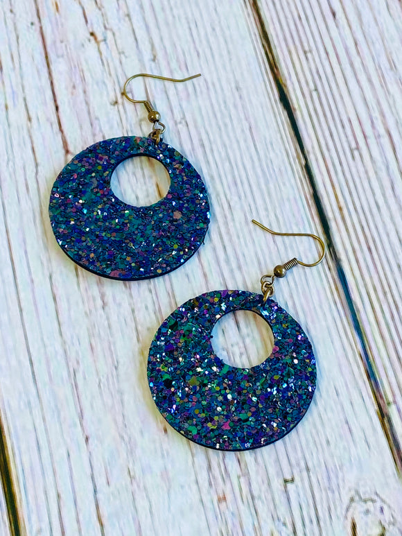 Mini Ayla Midnight Glitter Earrings - Black Cat Crafts Handmade Jewelry