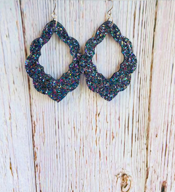 Midnight Glitter Indra Earrings - Black Cat Modern Boho Handmade Jewelry