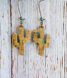 Teal Sedona Cactus Earrings - Black Cat Modern Boho Handmade Jewelry