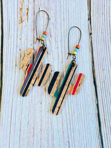 Southwest Stripe Sedona Cactus Earrings - Black Cat Modern Boho Handmade Jewelry