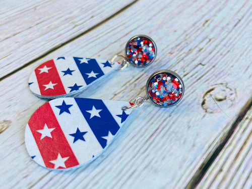Stars & Stripes with Glitter Cab Posts - Black Cat Modern Boho Handmade Jewelry