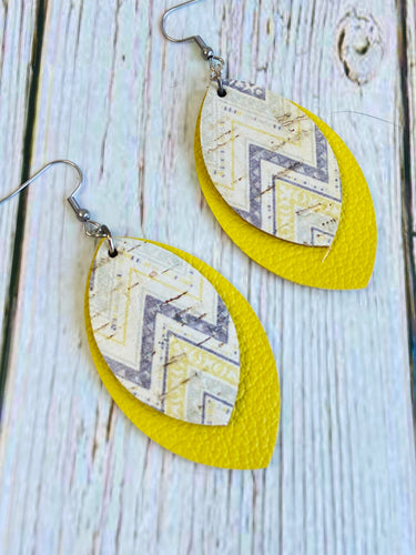 Yellow & Grey Chevron Deryn Earrings - Black Cat Modern Boho Handmade Jewelry