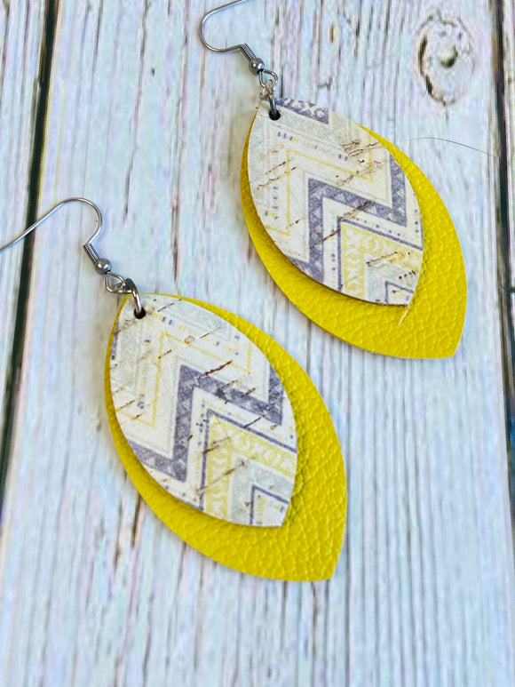 Yellow & Grey Chevron Deryn Earrings