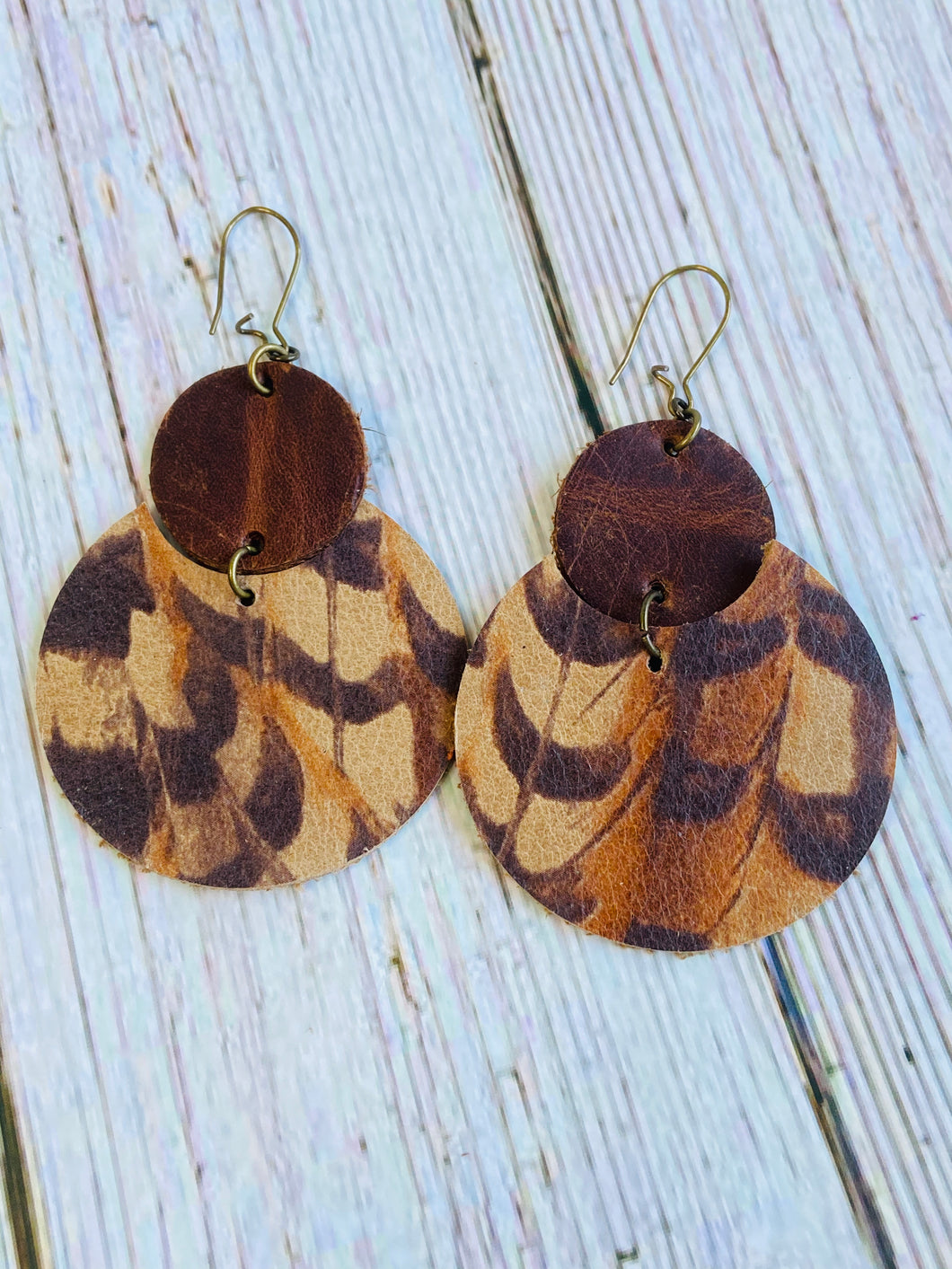 Pheasant Feather Lily Leather Earrings - Black Cat Modern Boho Handmade Jewelry