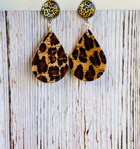 Leopard Print Cork with Leopard Cab Posts - Black Cat Modern Boho Handmade Jewelry