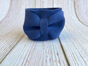 Genuine Leather Bow Cuffs - Black Cat Modern Boho Handmade Jewelry