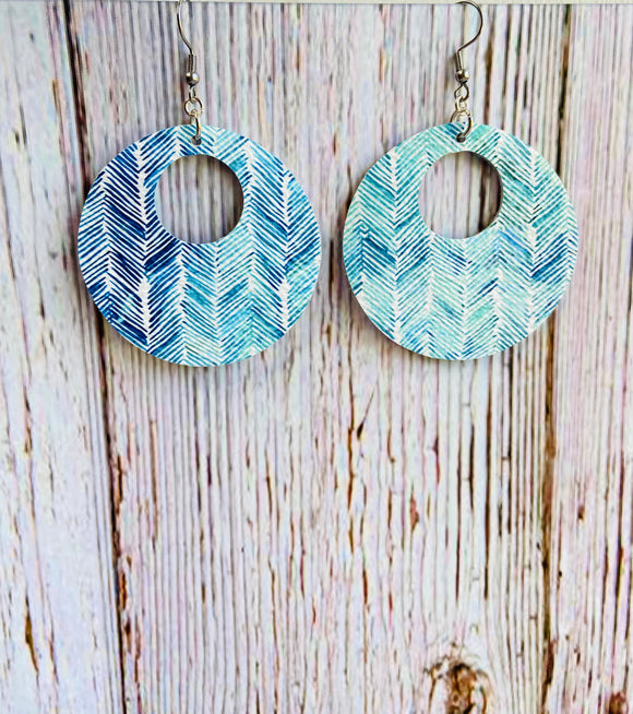 Aqua & Blue Chevron Print Leather Ayla Earrings