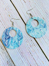 Aqua & Blue Chevron Print Leather Ayla Earrings - Black Cat Modern Boho Handmade Jewelry