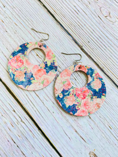 Blue Floral Print Cork Ayla Earrings - Black Cat Modern Boho Handmade Jewelry
