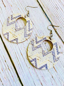 Grey & Yellow Chevron Print Cork Ayla Earrings - Black Cat Modern Boho Handmade Jewelry