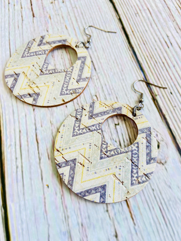 Grey & Yellow Chevron Print Cork Ayla Earrings