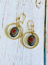 Vintage Cabochon Earrings - Black Cat Modern Boho Handmade Jewelry