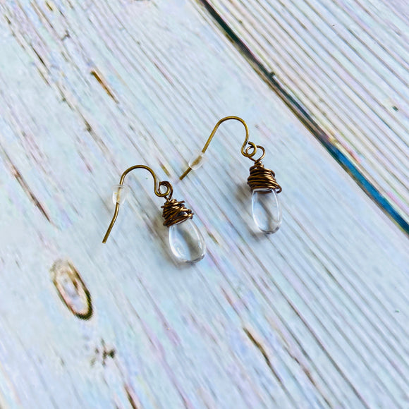 Tiny Wire-Wrapped Crystal Earrings - Black Cat Crafts Handmade Jewelry