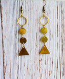 Long Brass Dangle Earrings - Black Cat Crafts Handmade Jewelry