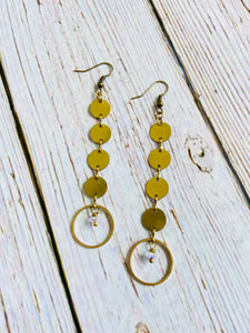 Jonquil & Brass Drop Earrings - Black Cat Crafts