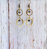 Heliotrope & Brass Earrings - Black Cat Crafts Handmade Jewelry