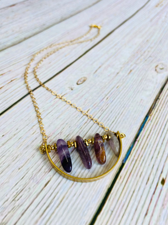 Amethyst Arc Necklace - Black Cat Crafts Handmade Jewelry