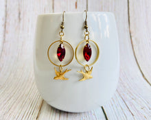 Vintage Rhinestone & Brass Bird Earrings - Black Cat Modern Boho Handmade Jewelry