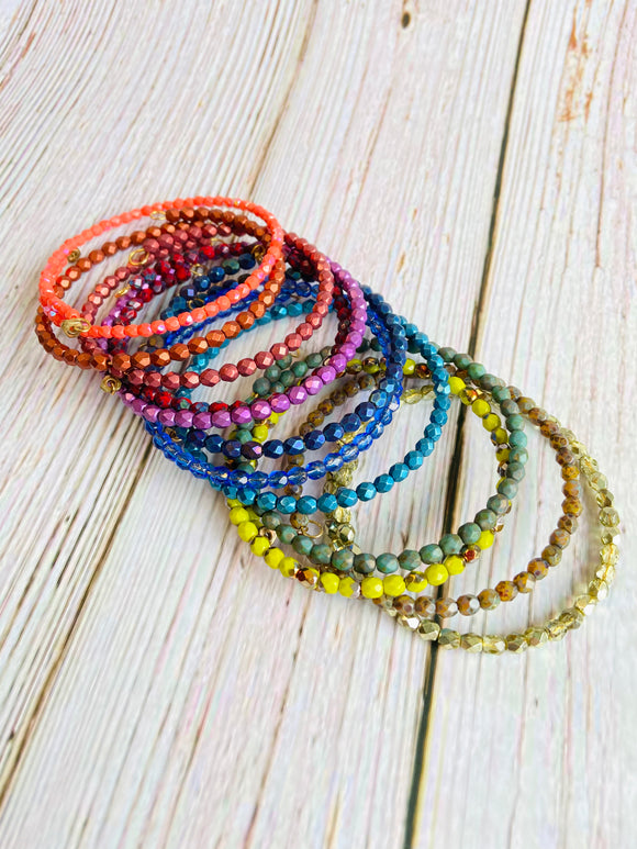 Delicate Beaded Bangle Bracelet Stack - You Choose Colors