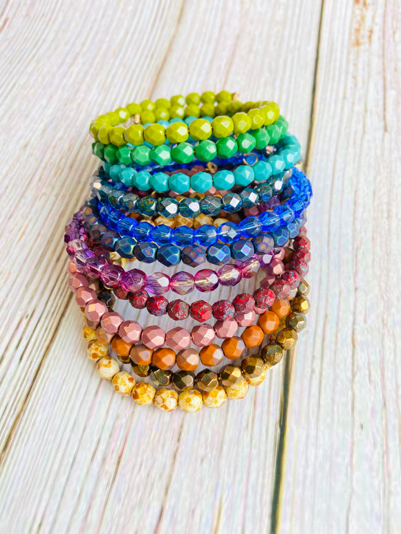 Beaded Bangle Bracelet Stack - You Choose Colors - Black Cat Crafts Handmade Jewelry