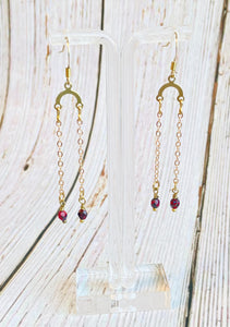 Beaded Brass Chain Drop Earrings - Black Cat Modern Boho Handmade Jewelry