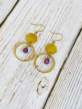 Amethyst Beaded Brass Hex Drop Earrings - Black Cat Modern Boho Handmade Jewelry