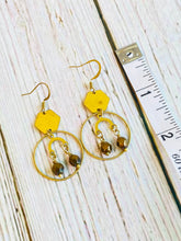 Bronze Beaded Brass Hex Drop Earrings - Black Cat Modern Boho Handmade Jewelry