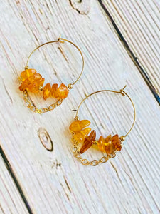 Amber Hoop Earrings - Black Cat Modern Boho Handmade Jewelry