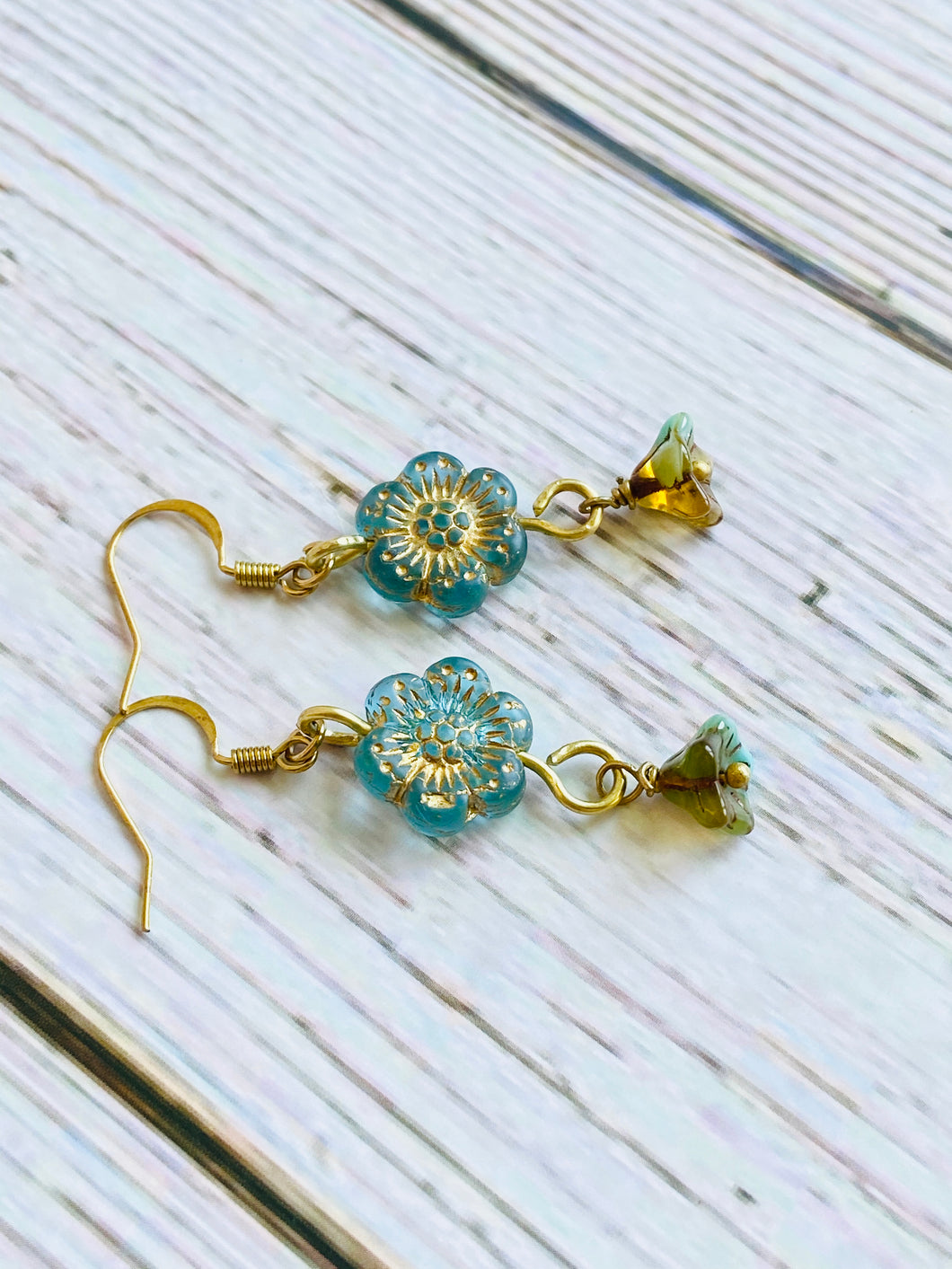 Aqua & Gold Flower Dangle Earrings - Black Cat Modern Boho Handmade Jewelry