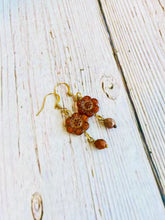 Orange & Gold Flower Dangle Earrings - Black Cat Modern Boho Handmade Jewelry