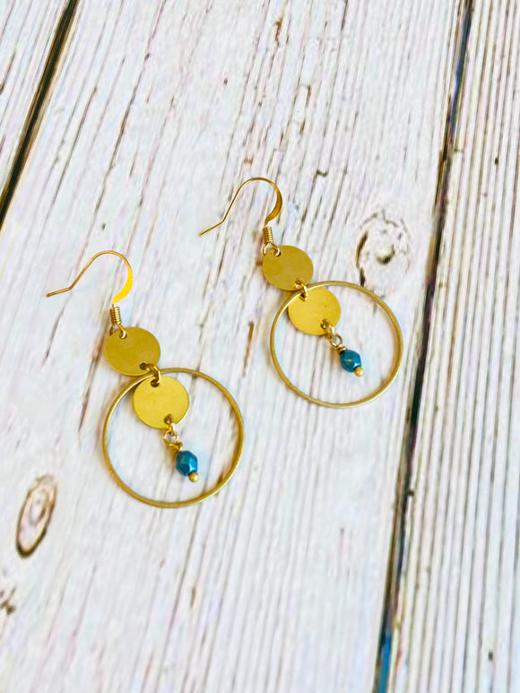 Metallic Aqua Beaded Brass Circle Drop Earrings - Black Cat Modern Boho Handmade Jewelry