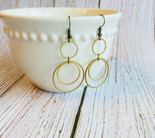 Brass Circle Dangle Earrings - Black Cat Modern Boho Handmade Jewelry