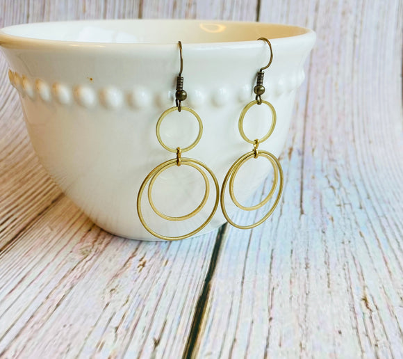 Brass Circle Dangle Earrings - Black Cat Crafts Handmade Jewelry