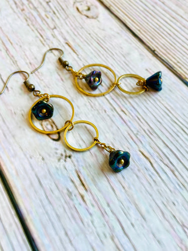 Brass Circle Bellflower Dangle Earrings - Black Cat Modern Boho Handmade Jewelry