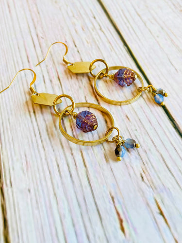 Beaded Brass Hex Drop Earrings - Black Cat Modern Boho Handmade Jewelry