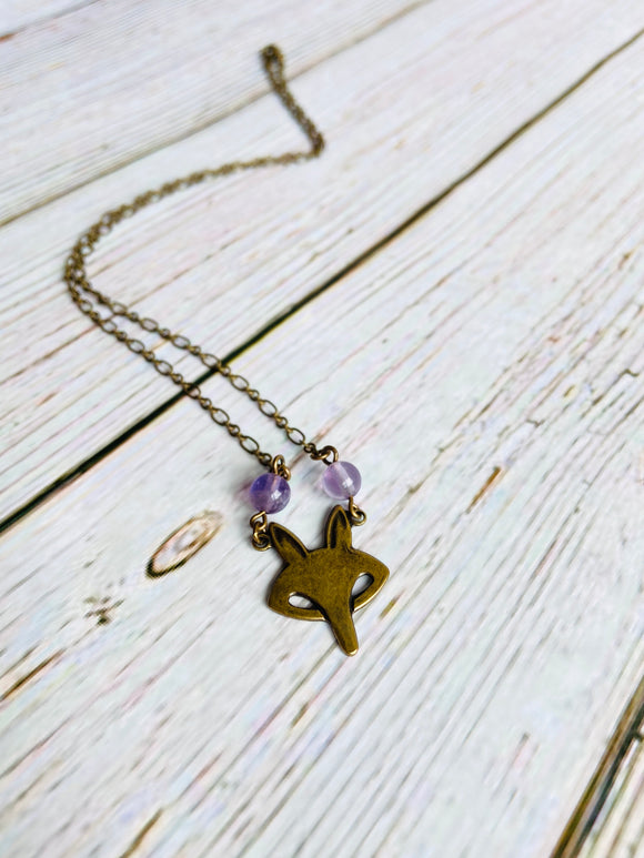 Amethyst Fox Necklace - Black Cat Modern Boho Handmade Jewelry