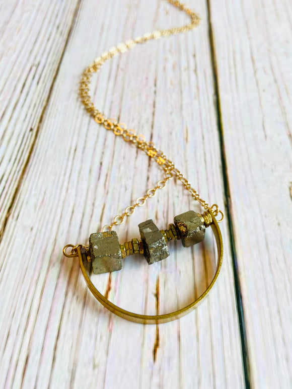 Genuine Pyrite Arc Necklace - Black Cat Modern Boho Handmade Jewelry