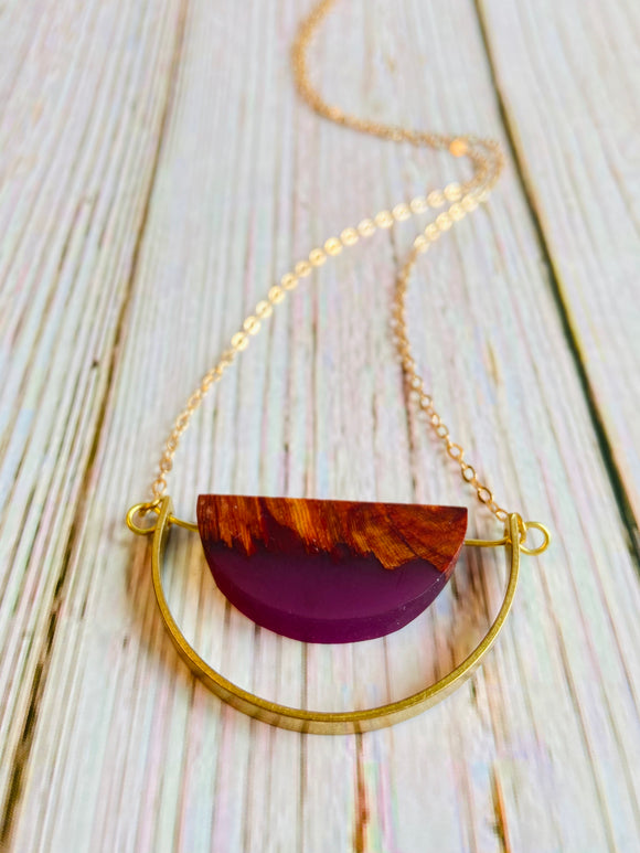 Wood & Resin Arc Necklace - Black Cat Crafts Handmade Jewelry