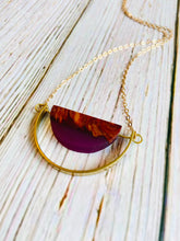 Wood & Resin Arc Necklace - Black Cat Modern Boho Handmade Jewelry