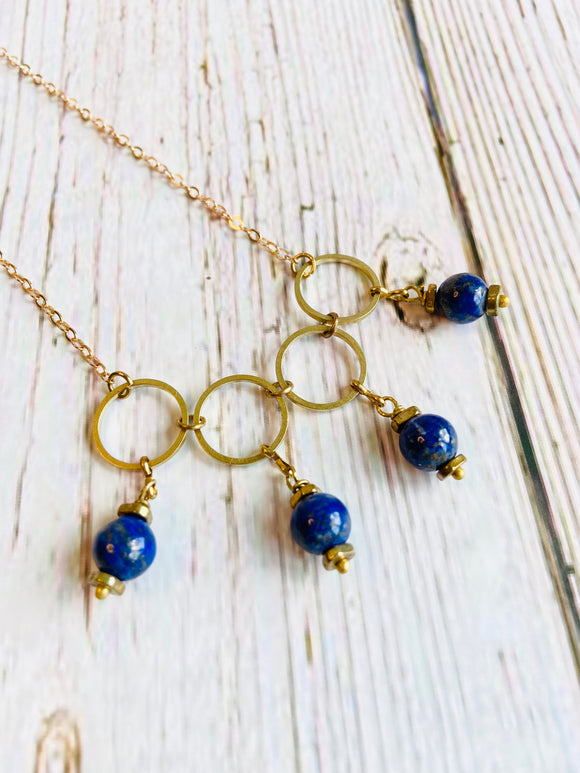 Lapis Link Beaded Necklace - Black Cat Modern Boho Handmade Jewelry