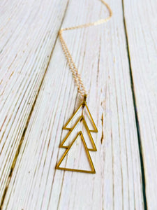 Triple Triangle Pendant Necklace - Black Cat Modern Boho Handmade Jewelry